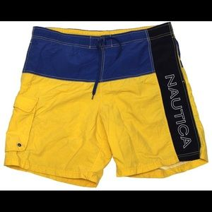Vintage Nautica spell out swim trunks shorts